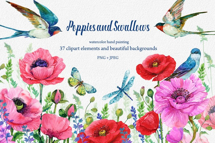 Red Poppies, flowers Clipart, Bird, Butterfly, example image 1