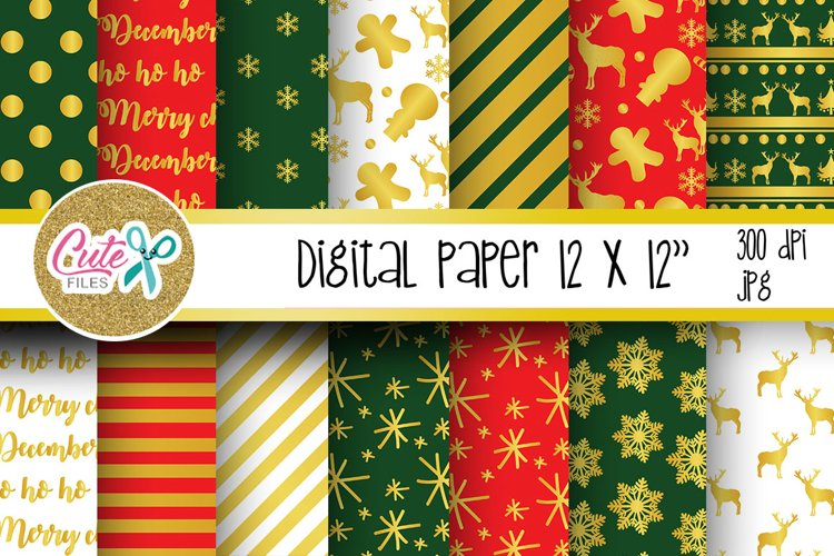 Christmas red and green digital paper for scrapbooking example image 1