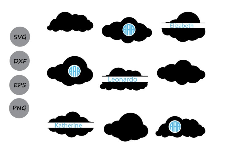 Cloud SVG, Cloud monogram svg, Cloud clipart, Clouds Svg.
