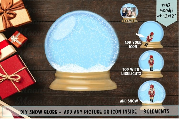 Snow Globe DIY Elements Bundle PNG sublimation Make your own example image 1