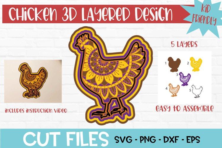 Chicken Mandala 3D Layered Design example image 1