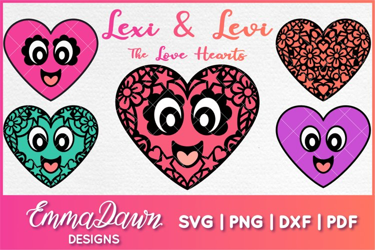 LEXI & LEVI THE LOVE HEARTS SVG 5 MANDALA ZENTANGLE DESIGNS example image 1