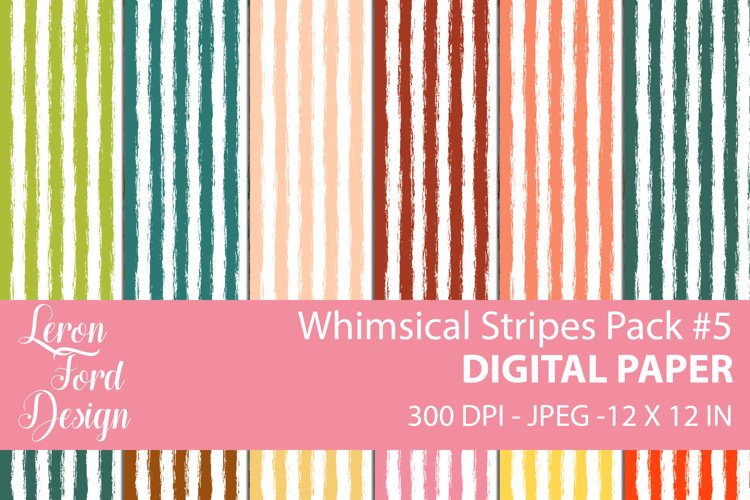 Whimsical Stripes Pack #5 Digital Paper example image 1