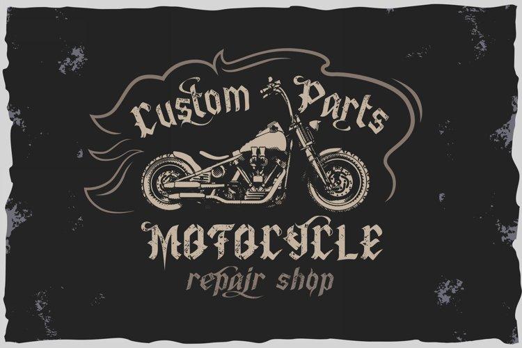Old Biker. Gothic style vintage label font. example 11