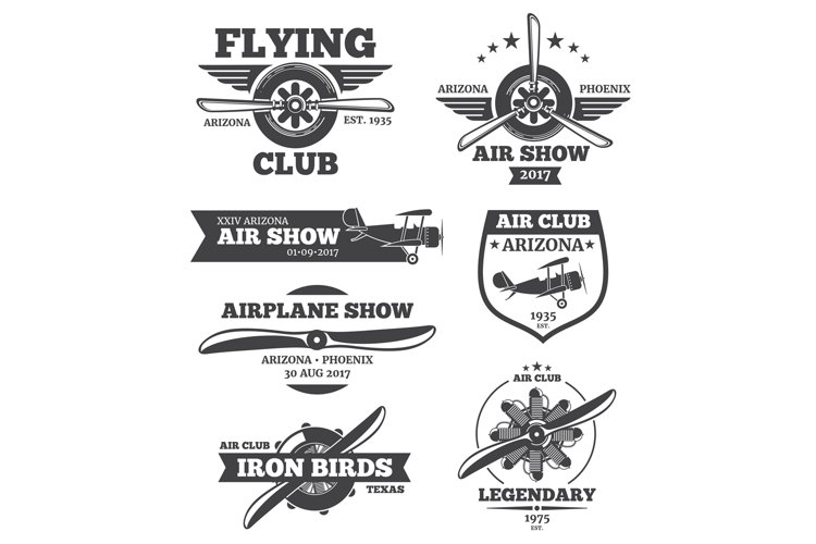 Vector aviation badges, avia club emblems, airplane logos se example image 1