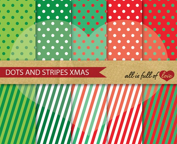 Christmas Digital Paper Pack Dots and Stripes Background Patterns in red and green example image 1