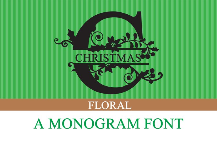 PN Christmas Floral Monogram Banner example image 1