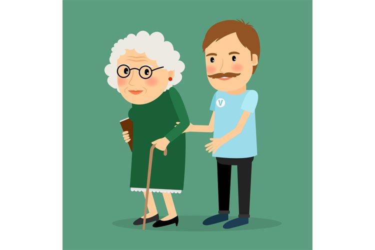 Volunteer man caring for elderly woman example image 1