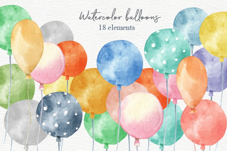 Balloons clipart,planner clipart, watercolor birthday party example image 1