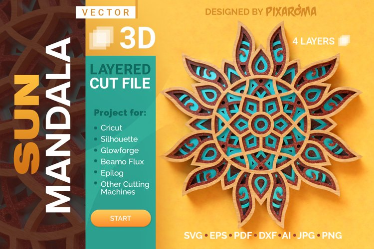 Sun Mandala 3D Layered SVG Cut File