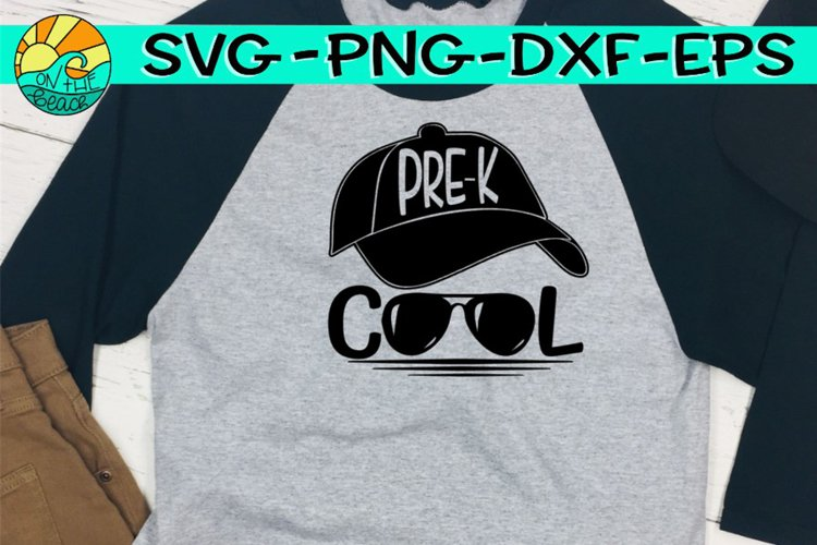 Pre K - Cool - Baseball Hat - Glasses - SVG PNG EPS DXF example image 1