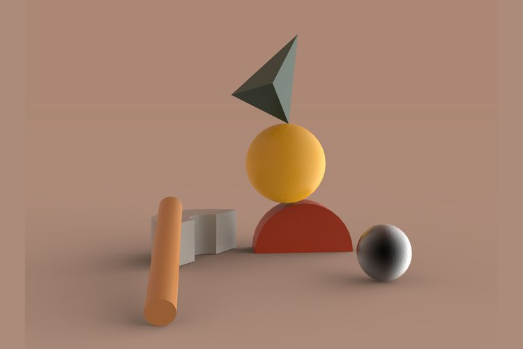Abstract geometric shape composition 3d render Illustration example image 1