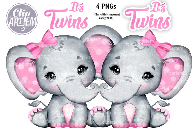 Sweet Twins Girl Elephants Pink Bow Watercolor 4 PNG images
