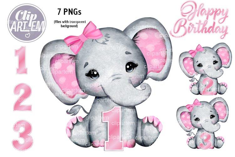 Girl Elephant 1st, 2nd, 3rd Birthday clip art Bundle 7 PNG