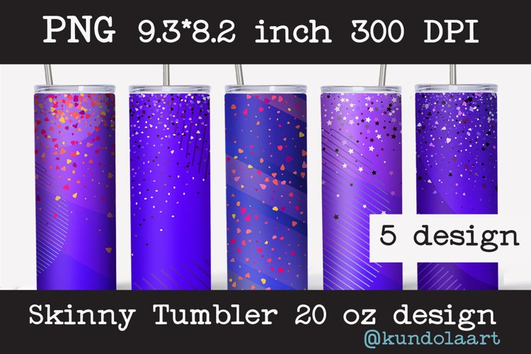 Skinny tumbler sublimation Valentines ombre design 20oz example image 1
