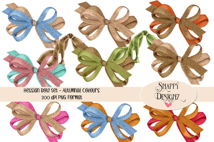 Hessian Double Bows Scrapbooking Elements example image 1