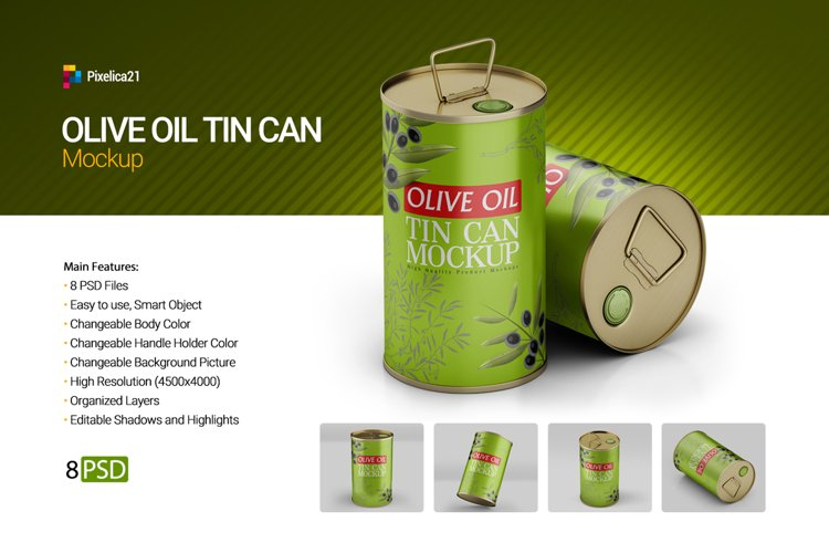 Olive Oil Round Tin Can Mockup