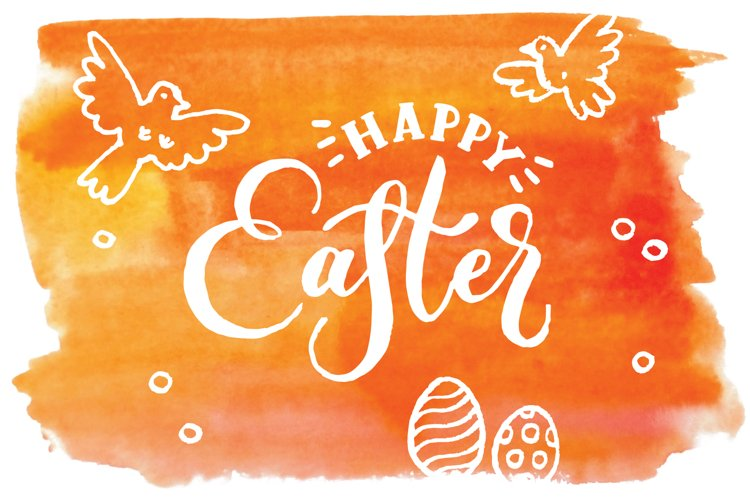 Happy Easter. Vector elements and watercolor textures. example image 1