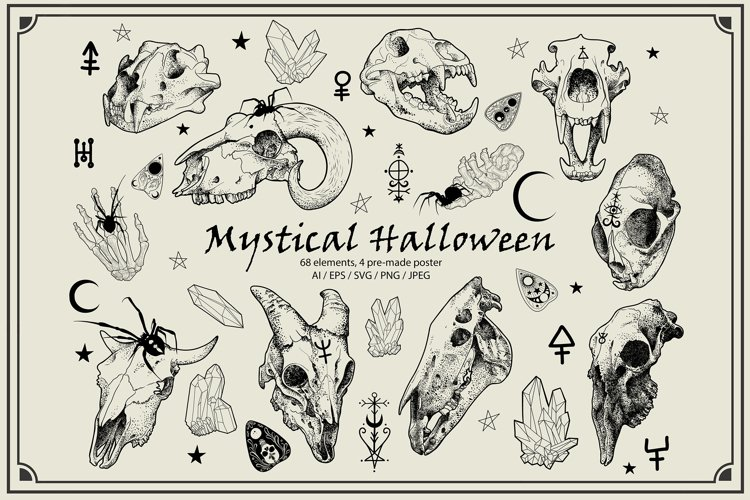 Mystical Halloween Vintage Vector ClipArt
