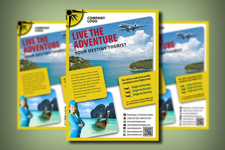 TOURISM FLYER TEMPLATE | Photoshop | Travel | Flying example image 1