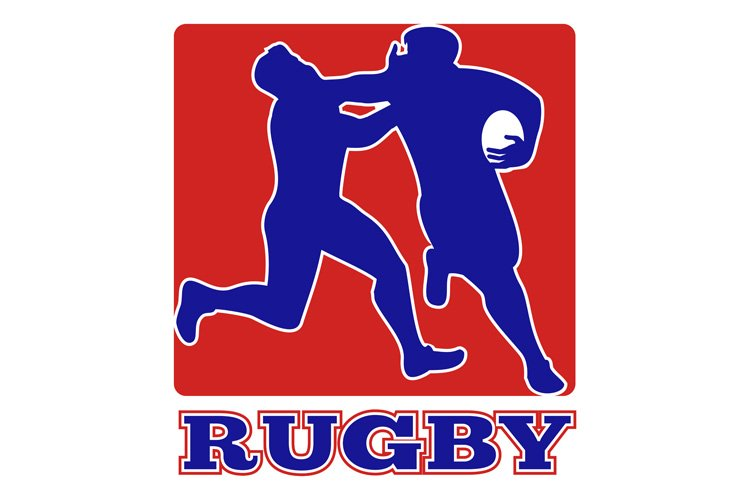 Rugby player tackle fending off example image 1