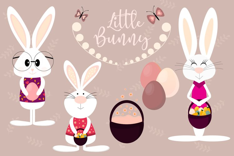 Cute Easter Bunny Svg, Spring Clipart example image 1