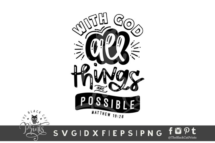 With God All Things Are Possible SVG | Bible Verse SVG example image 1