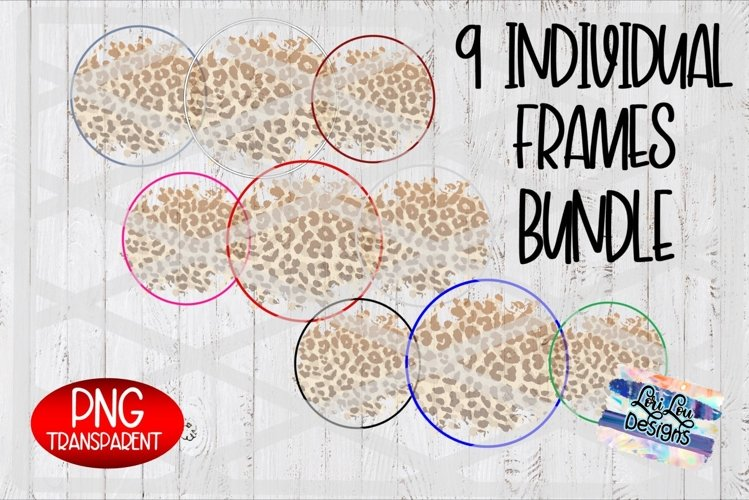 Leopard Pattern Background Circle Frame - 9 PNG Files example image 1