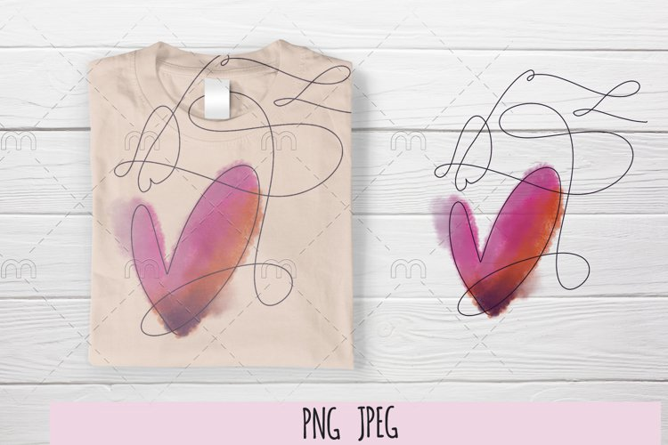 Sublimation watercolor heart example image 1