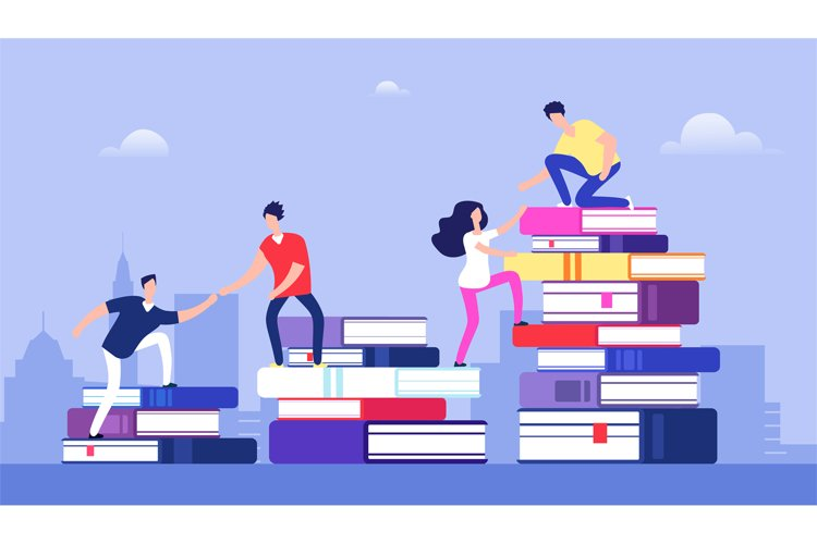 People climbing books. Business success, education level and example image 1