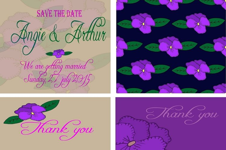 Wedding invitation card set with hand drawn pansy flowers