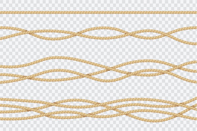 Realistic rope set. Nautical textured cords. Close up sailor example image 1