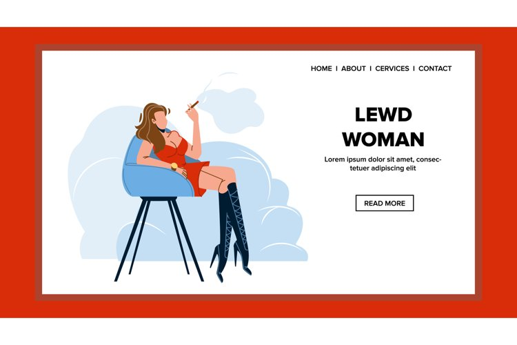 Lewd Woman Sitting On Chair And Smoking Vector example image 1