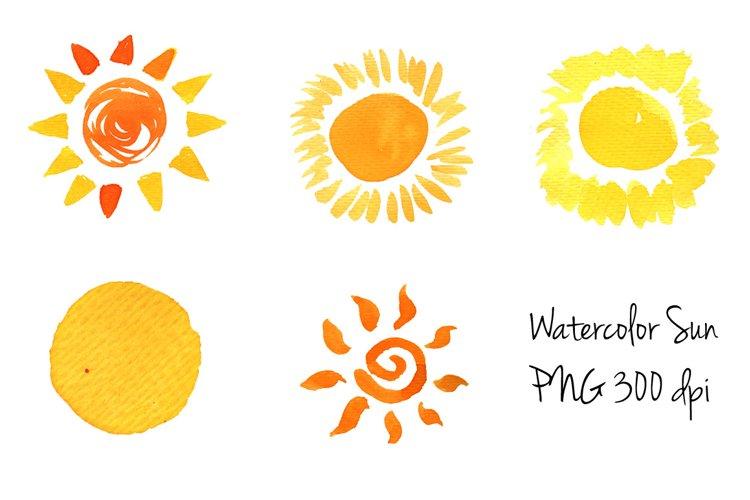 Doodle Sun icons set Watercolor