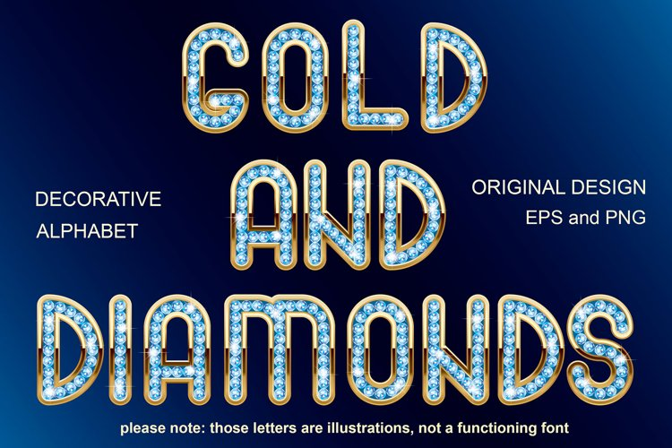 Diamonds and gold - unique font example image 1