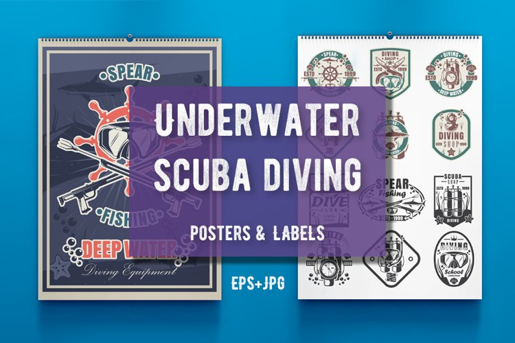 Underwater scuba diving poster and logo bundle