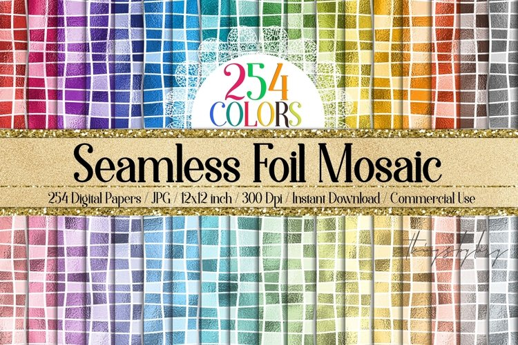 254 Seamless Metallic Foil Mosaic Digital Papers 12x12 inch example image 1