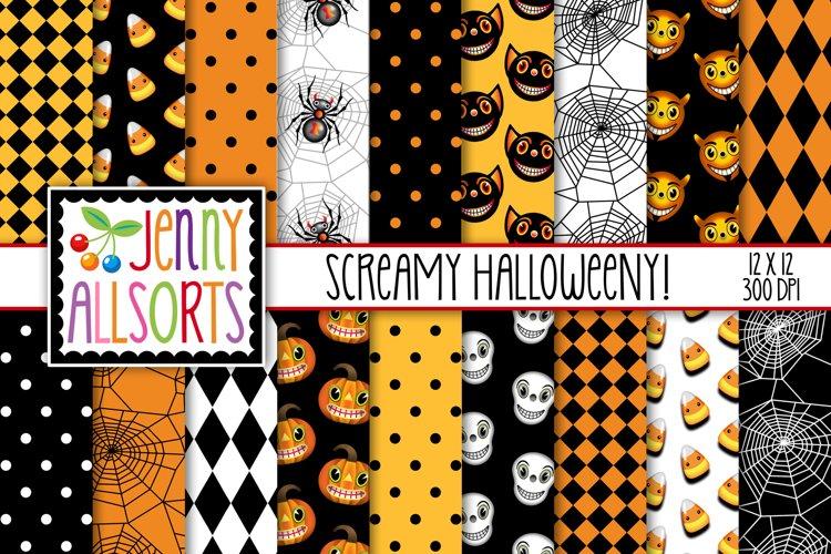 Screamy Halloweeny Digital Papers example image 1