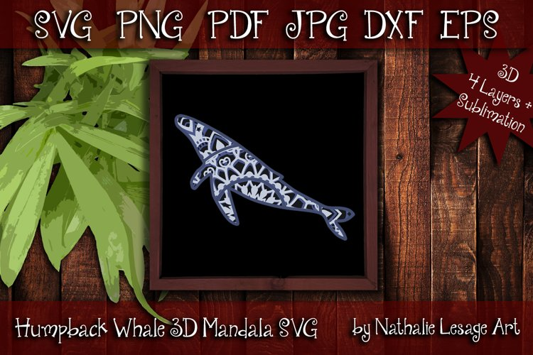 3D Layered SVG Humpback Whale Beach Cut File And Sublimation