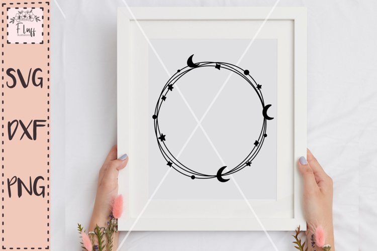 Celestial wreath, Moon and stars SVG example image 1