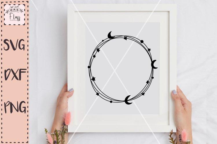 Celestial wreath, Moon and stars SVG
