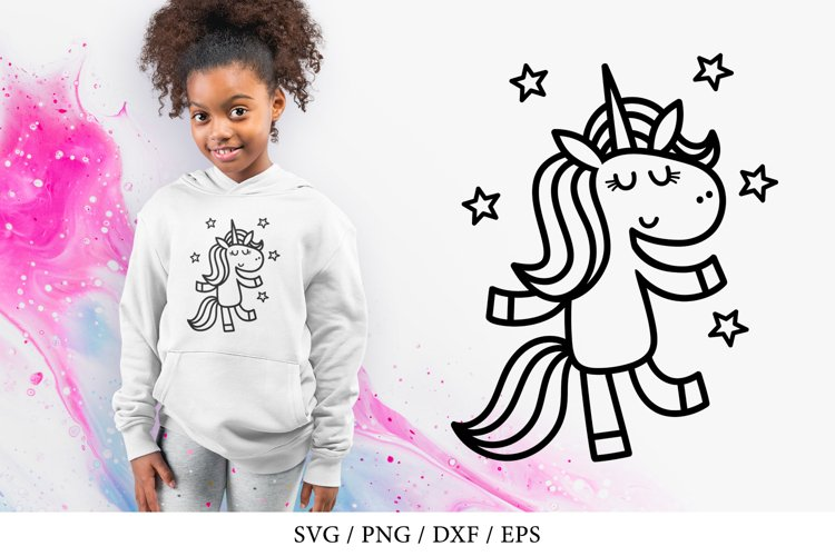 Dancing magical unicorn with stars - SVG, PNG, DXF