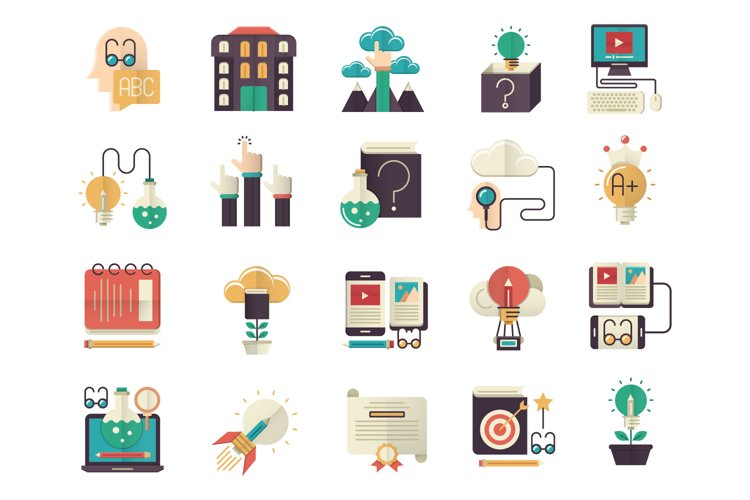 Knowledge and education flat icons set example image 1