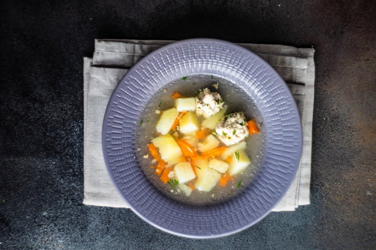 Healthy soup with meatball example image 1