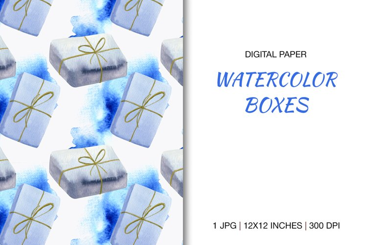 Digital paper Watercolor illustration gift boxes
