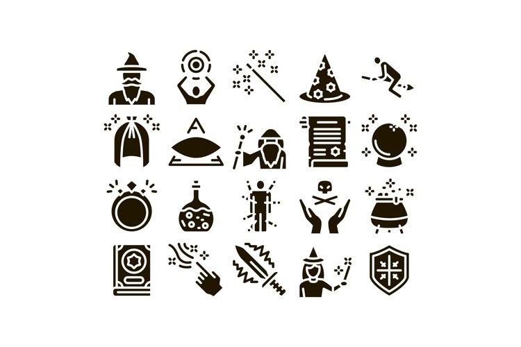 Wizard Magic Equipment Glyph Set Vector example image 1