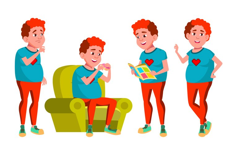 Teen Boy Poses Set Vector. Red Head. Fat Gamer. Face. example image 1