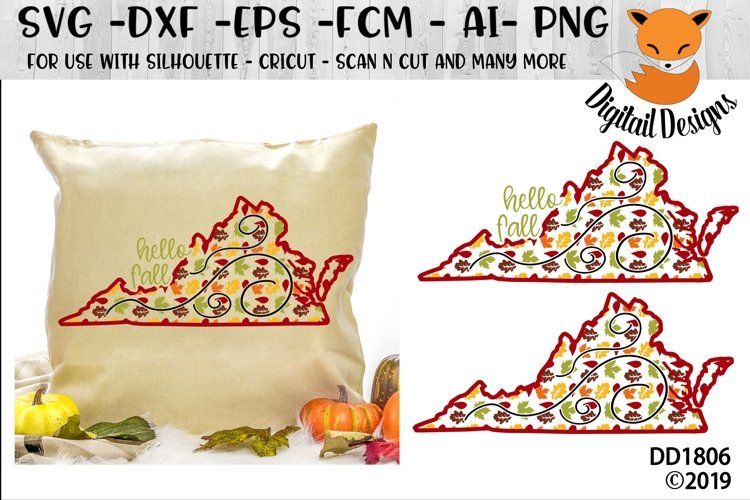 Virginia Autumn Fall Leaves Pattern SVG example image 1