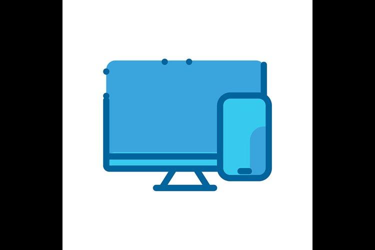 Computer symbol blue Icon vector illustration example image 1