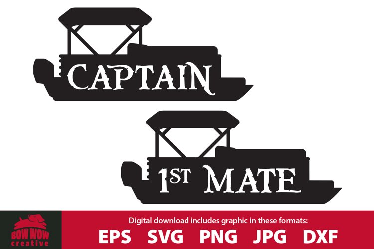 Pontoon Boat Captain and First Mate SVG Cutting File Bundle example image 1